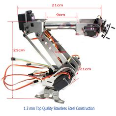 Cheap diy robot arm, Buy Quality arm robot directly from China robot claw arm Suppliers: Original DOIT 6 DOF Metal Mechanical Arm Kit Stainless Steel Manipulator Clamp Claw Machinery Structure Full Set DIY Robot Arm Robotics Projects, Robotics Engineering, Mechanical Engineering, Mechanical Arm, Mechanical Design, Diy Robot, Robot Arm, Diy Electronics, Electronics Projects
