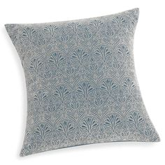 MARLENE blue cotton cushion cover with flocked motif 40 x 40 cm