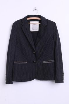 SCARVA Womens 44 L Blazer Top Suit Striped Black Single Breasted Top Patch - RetrospectClothes