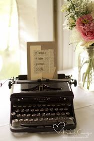 Moore-Stalter Wedding Vintage typewriter with hand made sign.