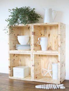 DIY : Etagères cubes en bois How to make simple shelves in raw wood?