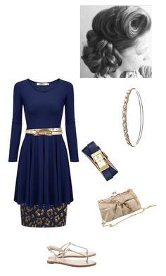 """""""Navy and gold"""" by annalisa-victoria-morehouse ❤ liked on Polyvore featuring Tory Burch, Essentiel, J.Reneé, Charlotte Russe and John Lewis"""