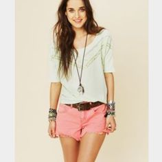 Free People Pink Denim Short Size 30 Great condition. No spots or tears. Size 30. Free People Shorts Jean Shorts