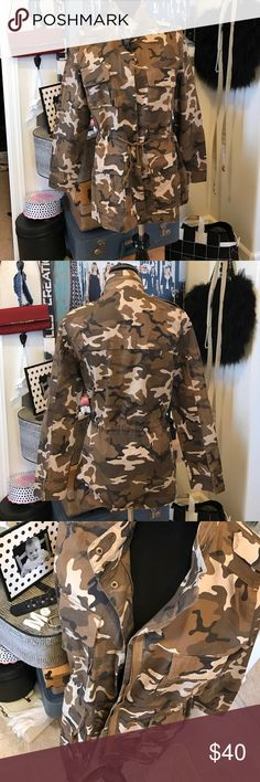 New Love Tree Brown Camo Military Jacket Coat New Love Tree Brown Camo Military Jacket Coat. Perfect condition. New never worn. Size M. 100% cotton. Zips and snaps down the front. Light weight. Totally haute! Love Tree Jackets & Coats Utility Jackets