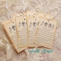 Folk Games and Dances Sheet Music Vintage Tags