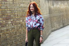 large scale floral button up