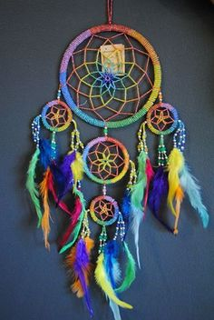 Large Rainbow Catcher...    Dream Catcher (Large) - Colored Webbing Silver & Rainbow Color Beads with Rain...
