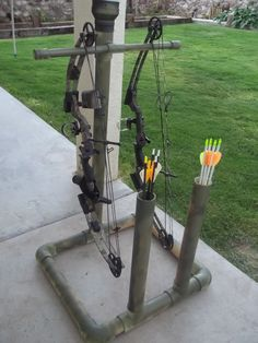 PVC archery stand. This would be so helpful!!!!