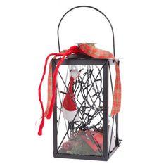 """Pflanzen-Kölle Laterne """"Weihnachtsklassik"""" groß.  Blickfang für Ihr Zuhause oder zum Verschenken: Rot-weiß geschmückte Metalllaterne mit warmweiß funkelnder LED Lichterkette. Ohne Batterien."""