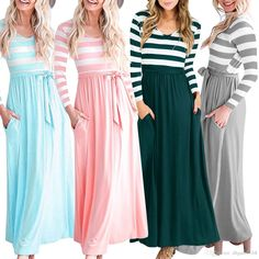 Womens Summer Panelled Luxury Elegant Dress Casual Striped Long Sleeve Long  Maxi Dress With Side Pockets Long Dresses Sale Dr Ess From Dhgate5168 5dd09a503