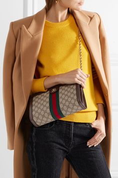 Gucci | Ophidia textured leather-trimmed printed coated-canvas shoulder bag | NET-A-PORTER.COM