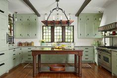 1920s english kitchen - Google Search Green Kitchen Cabinets, Kitchen Cabinet Hardware, Kitchen Cabinet Colors, Mint Kitchen, 1920s Kitchen, Farmhouse Style Kitchen, Craftsman Kitchen, Farmhouse Kitchens, Kitchen Modern