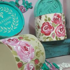One Stroke Painting, Hat Boxes, Vintage Shabby Chic, Ceramic Painting, Diy And Crafts, Craft Projects, Crafty, Handmade, Carton Box