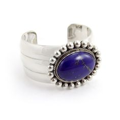 "Artie Yellowhorse Lapis Lazuli Bracelet in Sterling Silver - Lapis is believed to activate the ""Third Eye"""