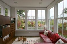 Browse pictures of sunroom styles and also decor. Discover ideas for your four seasons room addition, including ideas for sunroom decorating as well as layouts. Porch Windows, House Design, House, Home, Windows, New Homes, Contemporary Family Rooms, Sunroom Designs, Interior Design