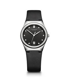 Victorinox Swiss Army, Inc Victoria Women's Large Watch. Feminine and serene, the new Victoria, named after the mother of the house's founder, is effortlessly simple and straightforward. Army Women, Black Leather Watch, Victoria, Victorinox Swiss Army, Swiss Army Watches, Rose Gold Watches, Stainless Steel Watch, Black Fabric, Looking For Women