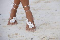 Spring flowers barefoot sandal beach wedding barefoot