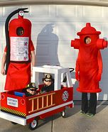 Fun family Halloween costume ideas - Fight Fire Family Homemade Costume