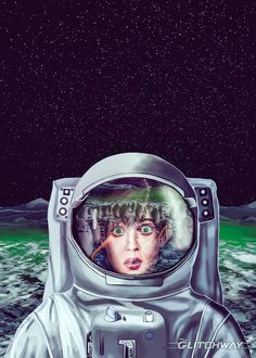 """Finished my """"Not Alone"""" artwork. #Alien #Space #astronaut"""