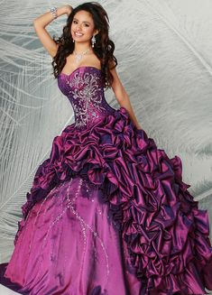 Custom quinceanera dresses in bright colors! These quince dresses can be made in any color. Lots of vestidos de quinceanera to choose from. Bridal Dresses, Girls Dresses, Prom Dresses, Formal Dresses, Dress Prom, Bridesmaid Dresses, Masquerade Ball Dresses, Purple Quinceanera Dresses, Vestidos Color Rosa