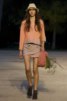 TCN Spring Summer Ready To Wear 2013 Barcelona. peach sweatshirt with gray sweatshirt skirt