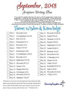Scripture Writing Plan for September 2018 - Best Pins Live Bible Study Plans, Bible Plan, Bible Study Guide, Bible Study Tools, Bible Study Journal, Scripture Reading, Scripture Study, Bible Verses Quotes, Bible Scriptures
