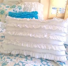 White petticoat ruffles bloomers pillow with beach cottage stitching trim shabby chic romantic beach house home. Pillow Shams, Bed Pillows, White Wicker Chair, Cottage Furniture, Painted Cottage, Chic Bedding, Romantic Homes, Shabby Chic Cottage, How To Make Pillows