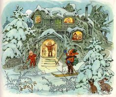 Fritz Baumgarten / Weihnachtsfest im Wichtelland / Bild 02 by micky the pixel… Art And Illustration, Christmas Art, Vintage Christmas, Yule, Old Children's Books, Baumgarten, Kids Poems, Elves And Fairies, Nouvel An