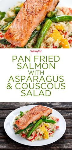 Replace the Couscous with quinoa and it's gluten free! Our Pan Fried Salmon with Asparagus & Couscous is a simple meal that requires minimal prep and effort. Just cook couscous, blanch asparagus, and fry salmon for a few minutes. Healthy Food Recipes, Clean Eating Recipes, Healthy Eating, Cooking Recipes, Healthy Foods, Skinny Recipes, Cooking Corn, Alkaline Recipes, Fit Foods