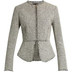 Alexander Wang Peplum tweed jacket ($1,095) ❤ liked on Polyvore featuring outerwear, jackets, grey multi, slim jacket, grey jacket, alexander wang jacket, gray jacket and tailored jacket