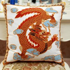 Chinoiserie dragon embroidered sofa cushions decorative pillows for couch
