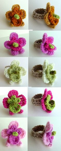 Lovely crochet orchid flower rings - by meekssandygirl - via Flickr ♥