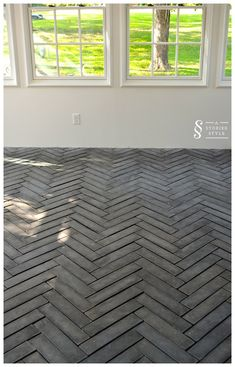 Beautiful herringbone 4″ x 16″ tiles from ArtoBrick from astoriedstyle.com