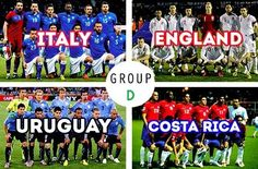 """""""D"""" Group - FIFA World Cup Brazil 2014 Draw - Probably the toughest group! Soccer Cup, Soccer Fifa, Play Soccer, Football Soccer, Brazil World Cup, World Cup 2014, Fifa World Cup, World Cup Groups, Sports"""
