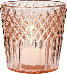Vintage Pink Tealight Candle Holder (diamond top design) - what about something with this color in it?  we could use them as vase accents