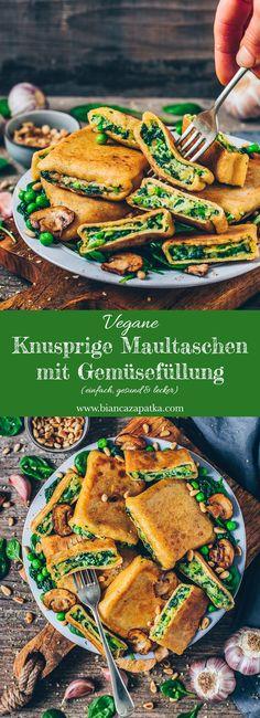 Knusprige Maultaschen - Ravioli mit Gemüse (Erbsen, Spinat, Kartoffeln)
