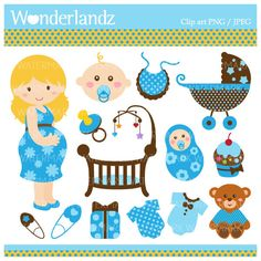 ZA33 Cute Blue Baby Shower  digital clip art  by littlefairyland, $4.99