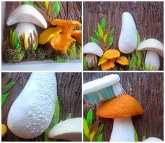 "Lepim panel ""Mushroom Story"" from polymer clay - Fair Masters - handmade, handmade Polymer Clay Kunst, Cute Polymer Clay, Polymer Clay Miniatures, Polymer Clay Projects, Diy Clay, Polymer Clay Jewelry, Mushroom Crafts, Mushroom Art, Polymer Clay Mushroom"