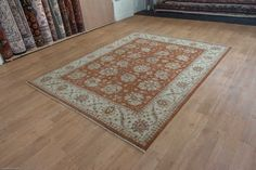 Hand Knotted Agra Ziegler Rug from India. Length: 300.0cm by Width: 250.0cm. Only £2500 at https://www.olneyrugs.co.uk/shop/rugs-for-sale/indian-agra-ziegler-17979.html    Check out our stunning mixture of Kazak rugs, kilim foot stools and Kilim cushion covers at www.olneyrugs.co.uk