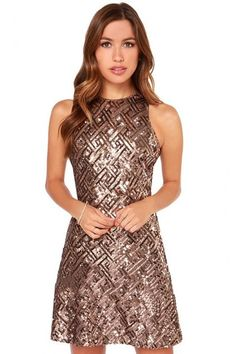 LUCLUC Brown Sequined Crew Short Skater Dress - LUCLUC. Sexy Summer DressesPretty  ... 21055fd93fe5
