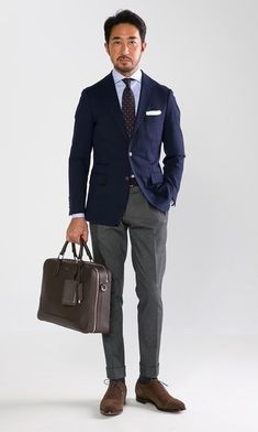 How To Wear a Blue Blazer With Grey Dress Pants For Men looks & outfits) Mens Fashion Suits, Mens Suits, Men's Fashion, Business Fashion, Blazer Outfits Men, Work Outfits, Costume Gris, Moda Men, Pantalon Costume