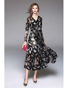 Feminino Bainha balanço Vestido,Festa Casual Simples Moda de Rua Estampado Decote V Longo Manga Longa Poliéster Outono Inverno Cintura