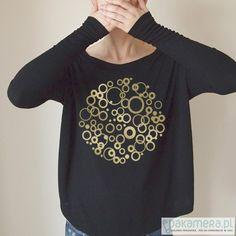 bluzki - t-shirty - damskie-W kółka gold Wąski rękaw Czarna