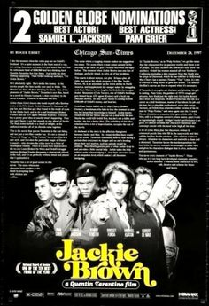 JACKIE BROWN - 1997 - original 27x40 2-sided Movie Poster - GOLDEN GLOBES style