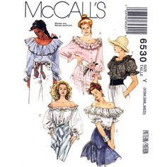 Off Shoulder Top Pattern McCalls 6530 Ruffle Peasant Blouse Bardot Top Size 4 to 14 UNCUT