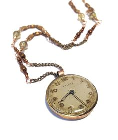 Handmade Open Bezel Mix Media Watch Face Pendant with Beaded Chain and Extender by ajunkersjournal on Etsy