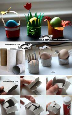 Eenvoudige eierdopjes van wc-rolletjes