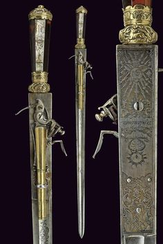 A hunting hanger with flintlock pistol, provenance Germany dating 18th Century