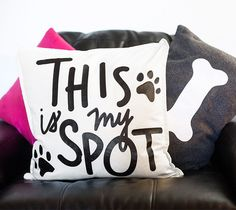 This is my spot throw pillow made with Cricut Iron-on by Idieh Design. Make It Now in Cricut Design Space.