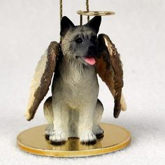 Elegant Hand Painted Gray Akita Figurine Adorned as an Angelic Pet Ornament